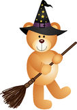 Halloween Teddy Bear with Broom Royalty Free Stock Photo