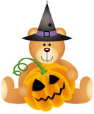 Halloween Teddy Bear with Pumpkin Stock Photography