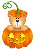 Halloween Teddy Bear in Pumpkin Royalty Free Stock Photography