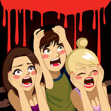 Halloween Teenagers Screaming Royalty Free Stock Photography