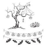 Halloween-tekeningen Gesneden pompoenen, lantaarns en vlaggen Stock Foto
