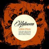 Halloween-tekst en elementen, volle maan, grunge achtergrond EPS10 Royalty-vrije Stock Foto's