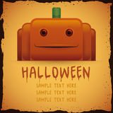 Halloween Tender Pumpkin Poster. Vector Illustration Stock Images