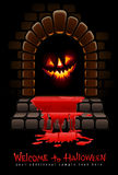 Halloween terrible door bloody entrance. And glowing face vector illustration Stock Image