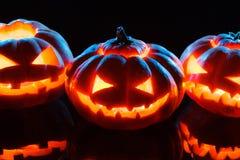 Halloween - terrible pumpkin on black background Royalty Free Stock Photos