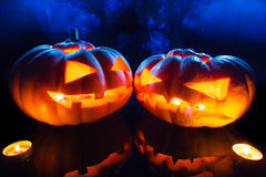 Halloween - terrible pumpkin on black background Royalty Free Stock Images