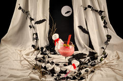 Halloween terrifying party cocktail. A glass with a spooky Halloween party cocktail Royalty Free Stock Photography