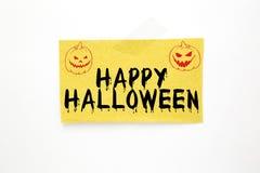 Halloween-Text auf braunem Papier Stockbild