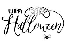Halloween text background with spider and cobweb. Halloween text background with a spider and cobweb vector illustration