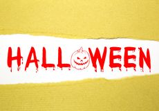 Halloween text on brown paper Stock Images