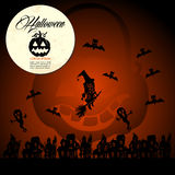Halloween text full moon pumpkin flying witches and bats EPS10 f Royalty Free Stock Photos