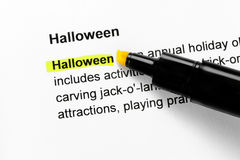 Halloween text highlighted in yellow Stock Photo
