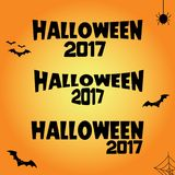Halloween 2017 text illustration black on orange. Background Vector Illustration