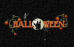 Halloween-Text mit Vollmond und Geisterhaus EPS10 archivieren. Stockfotos