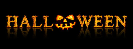 Halloween text - old jack-o-lantern Royalty Free Stock Photo