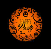 Halloween text pumpkin lantern and spooky forest b Stock Photo