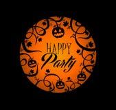 Halloween-Textkürbislaterne und gespenstischer Wald b Stockfoto