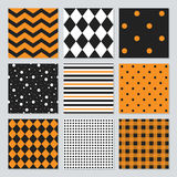 Halloween, Thanksgiving, fall, and harvest geometrical patterns set Royalty Free Stock Photography
