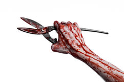 Halloween-thema: bloedige hand die een grote oude bloedige schaar op een witte achtergrond houden stock foto