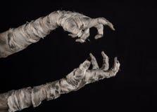Halloween-Thema: schreckliche alte Mamahände auf einem schwarzen Hintergrund Lizenzfreies Stockfoto