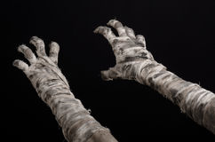Halloween-Thema: schreckliche alte Mamahände auf einem schwarzen Hintergrund Stockbild