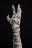Halloween-Thema: schreckliche alte Mamahände auf einem schwarzen Hintergrund Lizenzfreie Stockbilder