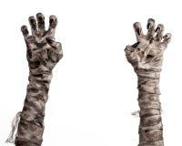 Halloween-Thema: schreckliche alte Mamahände auf einem weißen Hintergrund Lizenzfreie Stockfotografie
