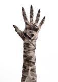 Halloween-Thema: schreckliche alte Mamahände auf einem weißen Hintergrund Stockfotografie
