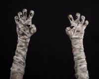 Halloween-thema: vreselijke oude brijhanden op een zwarte achtergrond Royalty-vrije Stock Afbeeldingen