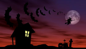 Halloween theme. Witch and bats are flying over the old house and cemetery Royalty Free Stock Photo