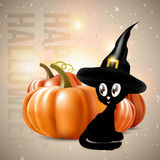Halloween theme - black cat with pumpkins Royalty Free Stock Photo