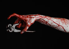 Halloween theme: bloody hand holding a pliers on a black background Royalty Free Stock Images