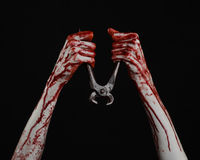 Halloween theme: bloody hand holding a pliers on a black background Stock Photography