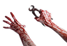 Halloween theme: bloody hand holding a pliers on a white background Royalty Free Stock Images