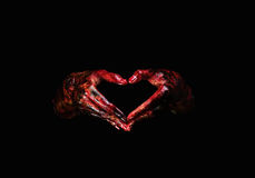 Halloween theme:Bloody hands. Black background, zombie, demon, killer, maniac with clipping path royalty free stock image