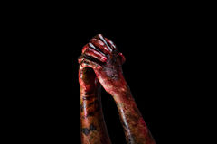 Halloween theme:Bloody hands. Black background, zombie, demon, killer, maniac with clipping path Stock Photo