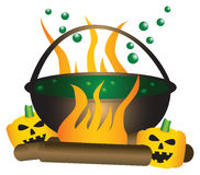 Halloween theme of a bubbling witch cauldron. Halloween theme. Boiling witch cauldron with green substance in it, with a large fire and pumpkins underneath Royalty Free Stock Photo