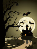 Halloween theme from the castle in the background Royalty Free Stock Images
