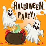 Halloween theme with ghost and pot Stock Photo