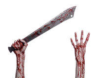 Halloween theme: hand holding a bloody machete on a white background Stock Images