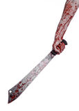 Halloween theme: hand holding a bloody machete on a white background Stock Image