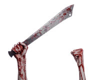 Halloween theme: hand holding a bloody machete on a white background Stock Photos