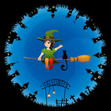 Halloween theme illustration for kids Stock Photos