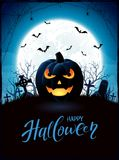 Halloween theme with Jack O Lantern on cemetery Stock Images
