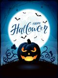 Halloween theme with Jack O Lantern on the moon background Royalty Free Stock Photography