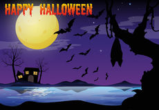 Halloween theme with lake and bat flying Stock Photo