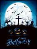 Halloween theme with pumpkins and raven on cemetery Royalty Free Stock Photography