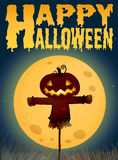 Halloween theme with scarecrow on fullmoon Stock Image