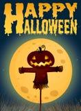 Halloween theme with scarecrow on fullmoon royalty free illustration