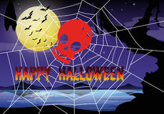 Halloween theme with spider web and skull Stock Image